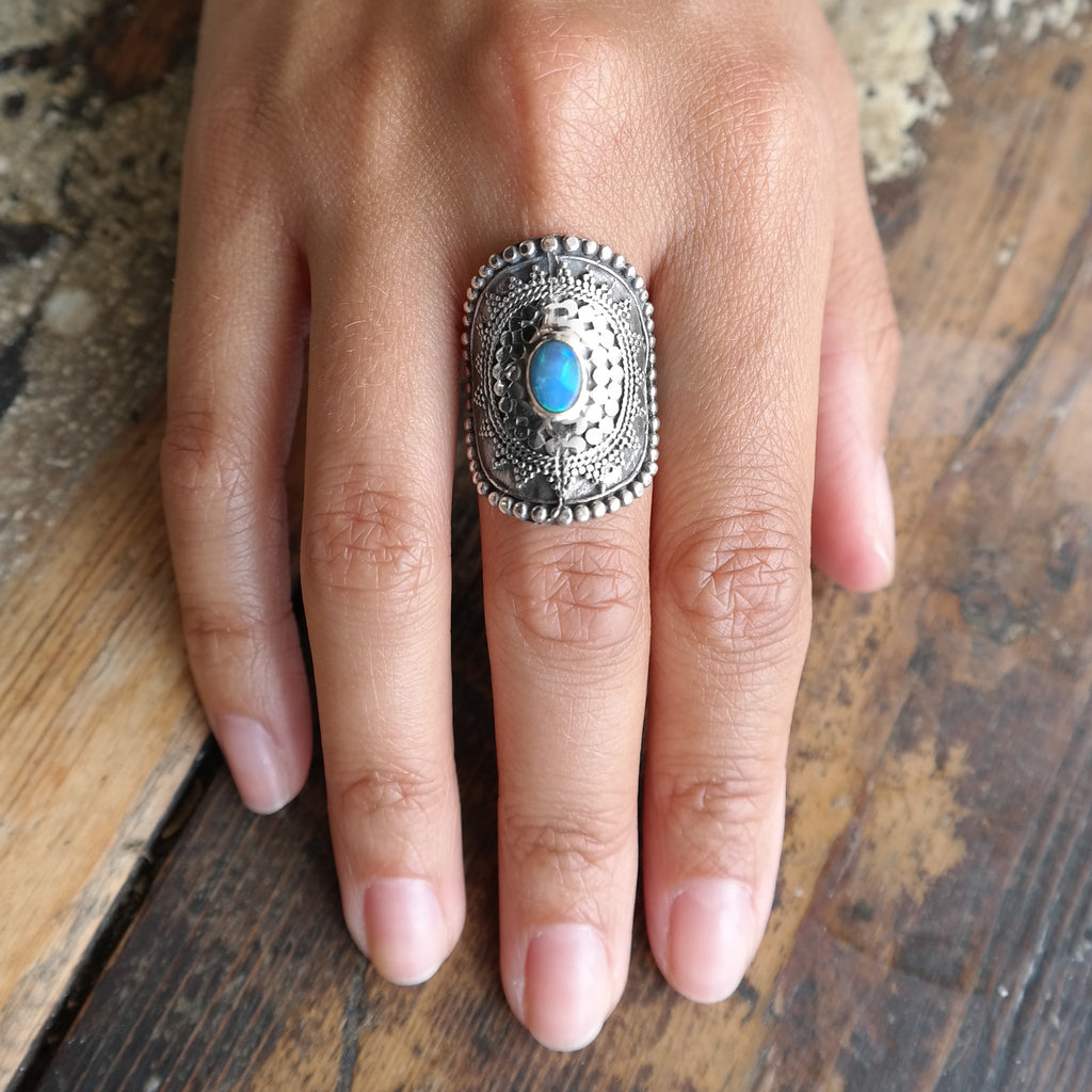 Mandala shield ring