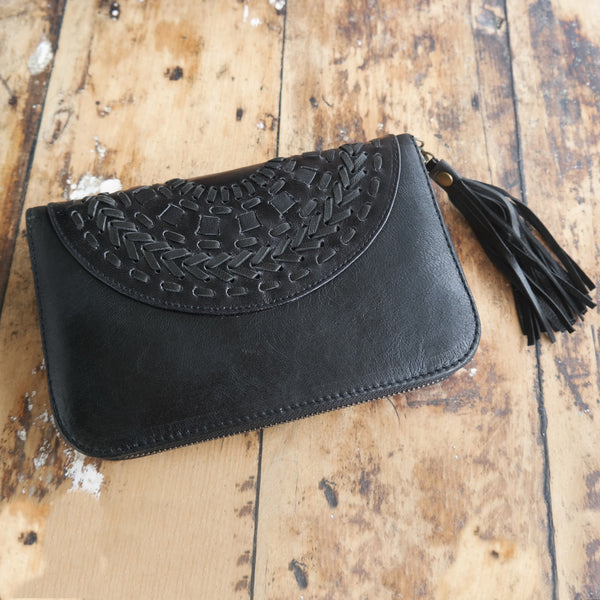 Mandala plait wallet black