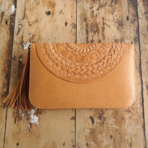 Mandala Plait wallet Tan