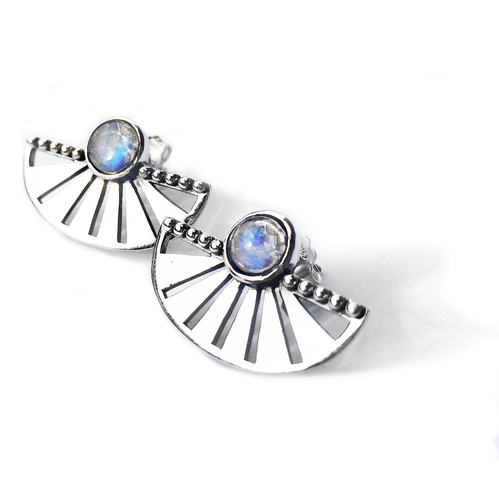 Adrift sterling silver studs with moonstone