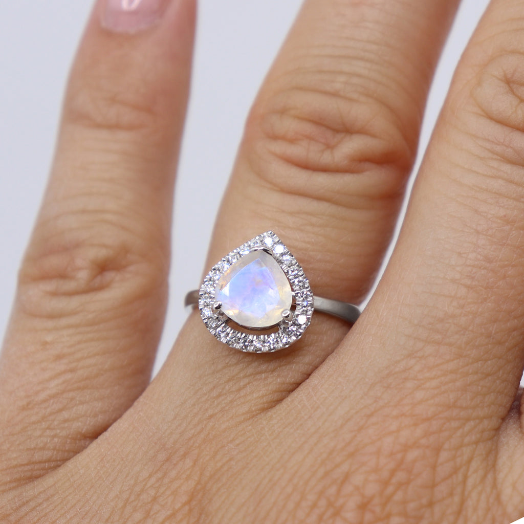 9k white gold Moonstone and Diamond Divinity band