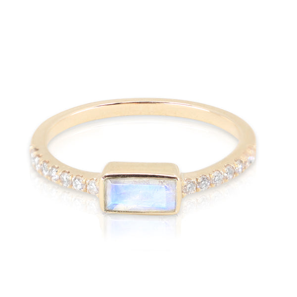 Yellow Gold Moonstone Baguette and Diamond Band