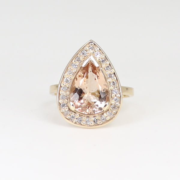 One of a kind Morganite and white diamond ring yellow gold