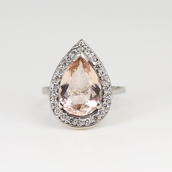 One of a kind morganite and white diamond ring - white gold