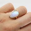 Faceted pear moonstone ring