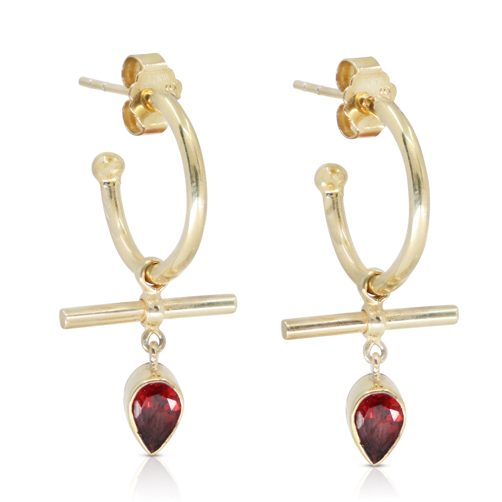 The Bar Garnet Gold Hoops