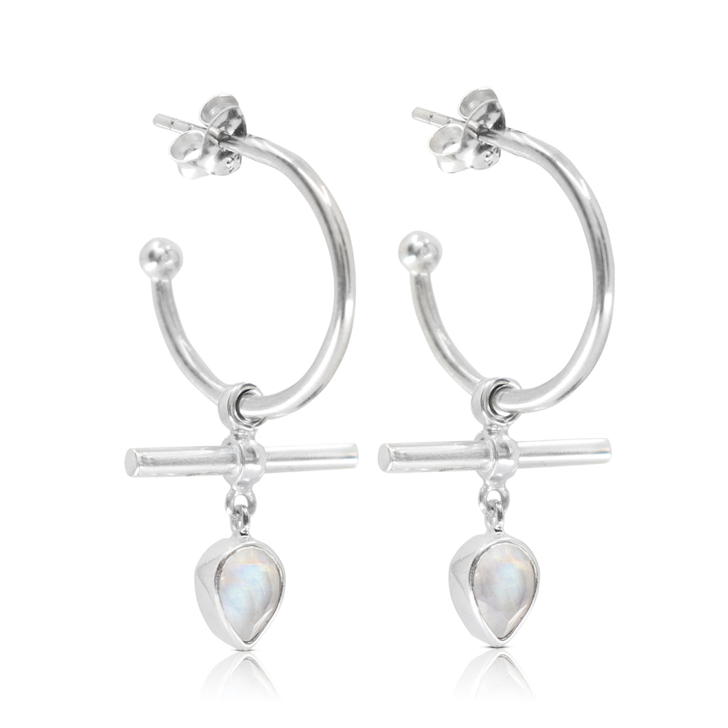 The Bar Moonstone Silver Hoops
