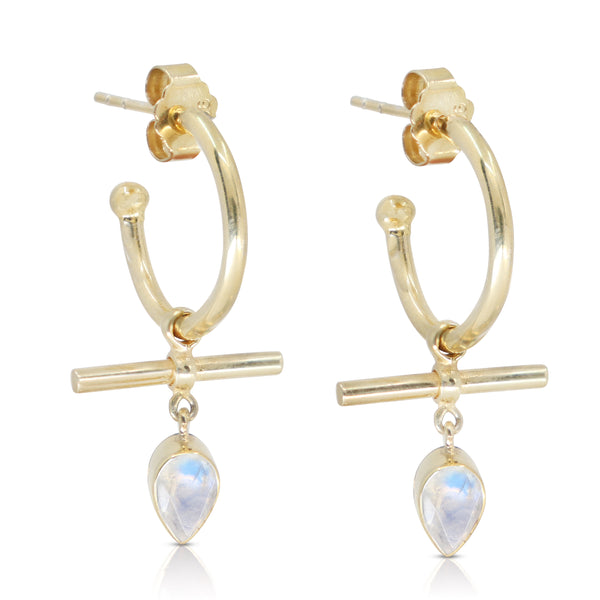 The Bar Moonstone Gold Hoops