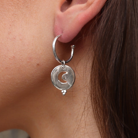 Night Skies Silver Baby Hoops