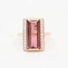 Raspberry tourmaline and diamond ring