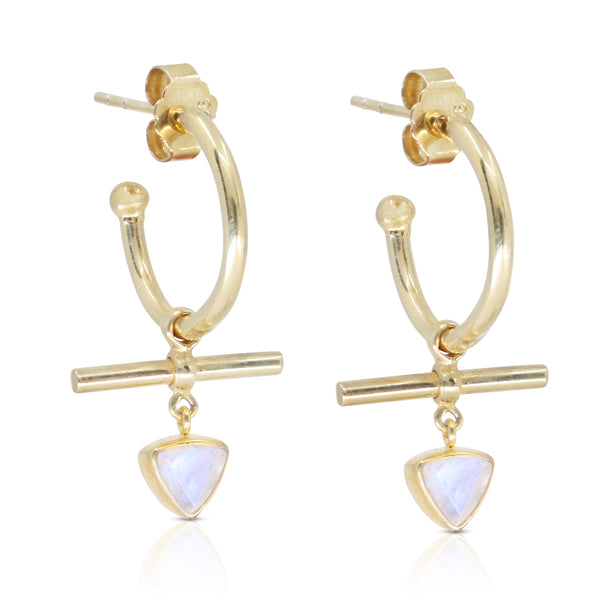 The Trillion Bar Moonstone Gold Hoops