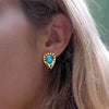 Coralie Gold Turquoise Studs