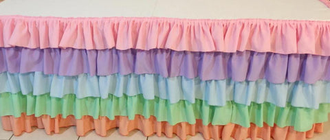Ombre or Multi Colours Ruffled Tablecloth
