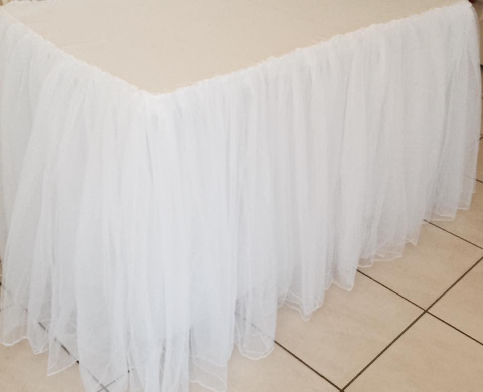 4ft Double Tulle White Tablecloth