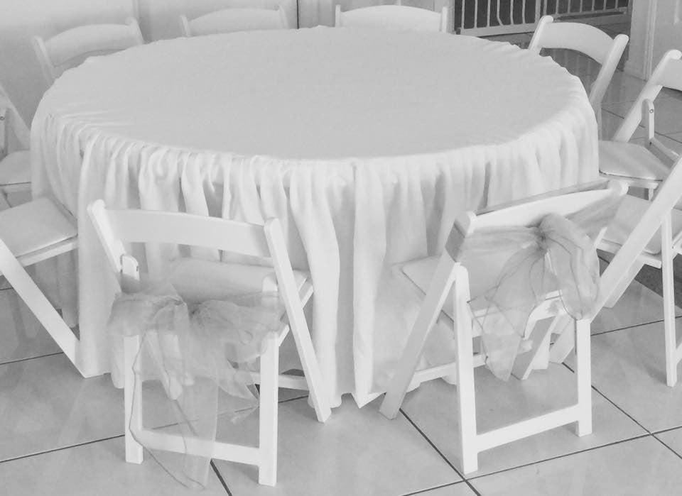 White Gathered Tablecloths for Children's Round Table.