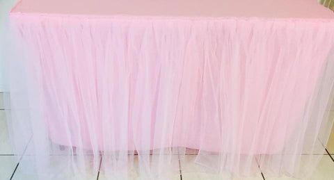 4ft Tulle Pink Tablecloth