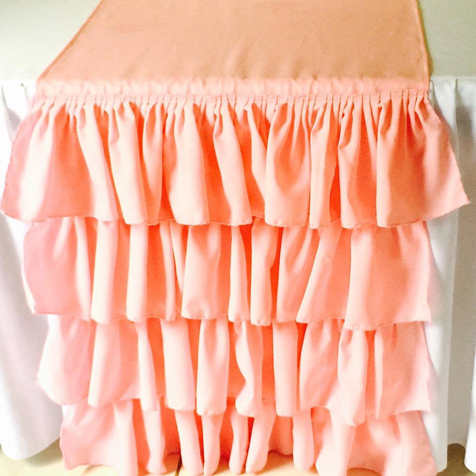 Pink Ruffled Table Runner