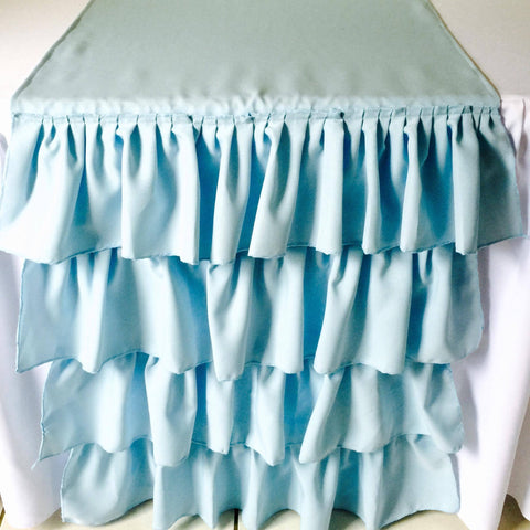 Blue Ruffled Table Runner