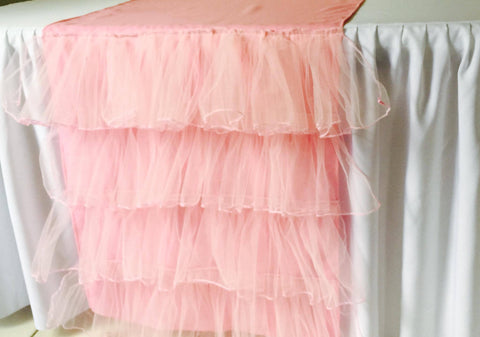 Pink Tulle Ruffled Table Runner