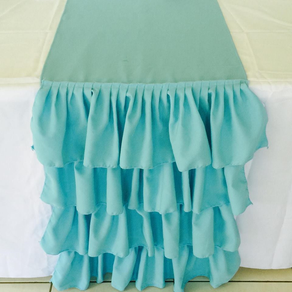 Aqua Ruffled Table Runner
