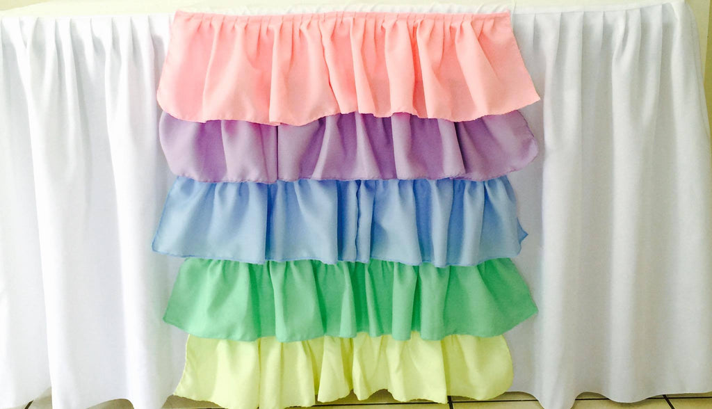 Pastel Rainbow Ruffled Table Runner