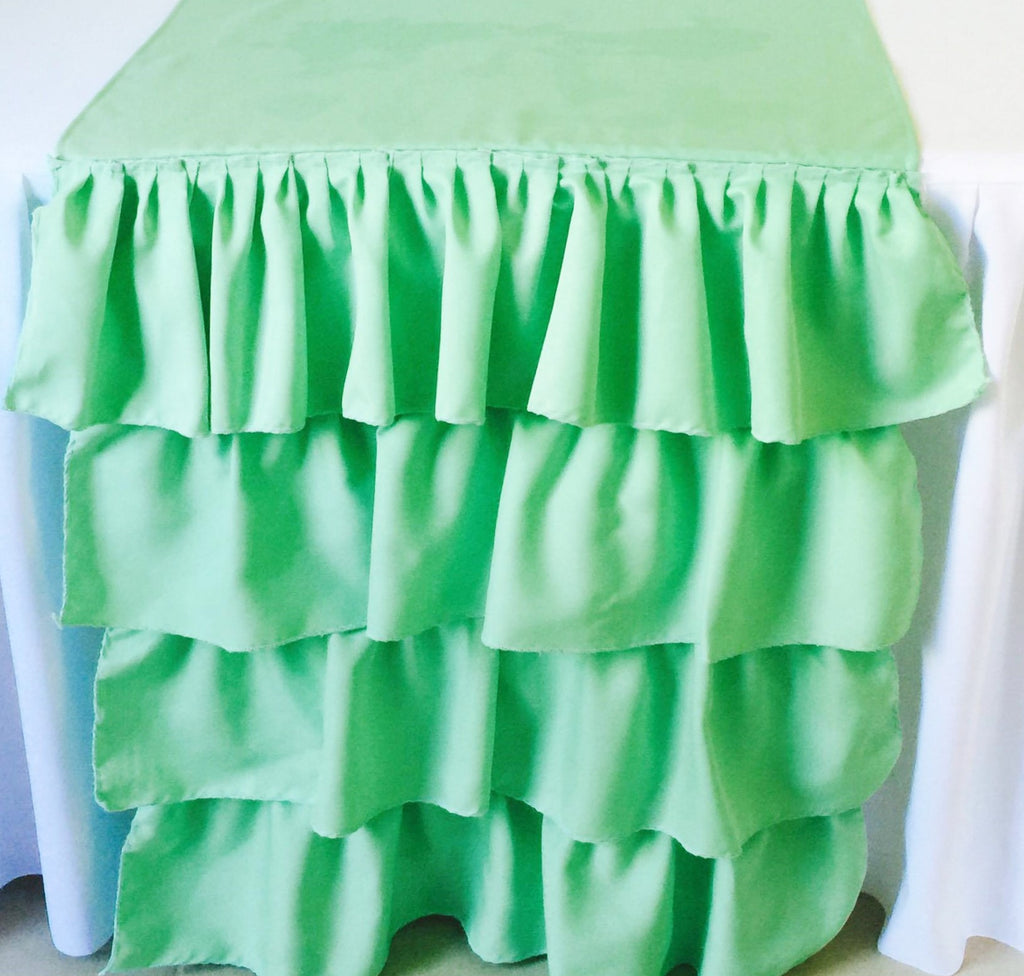Mint Ruffled Table Runner