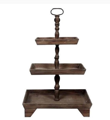 Rustic 3 Tier Rectangular Stand
