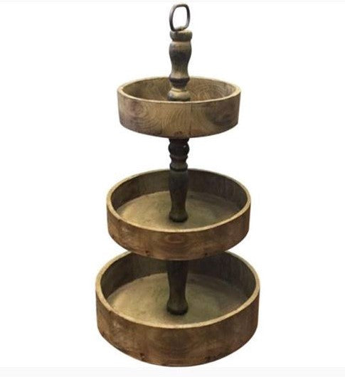 Rustic 3 Tier Round Stand