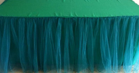 6ft Green Tulle Gathered tablecloth