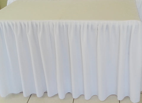4ft White Gathered Tablecloth
