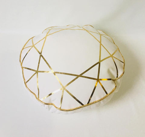 Gold and White Round Cushion