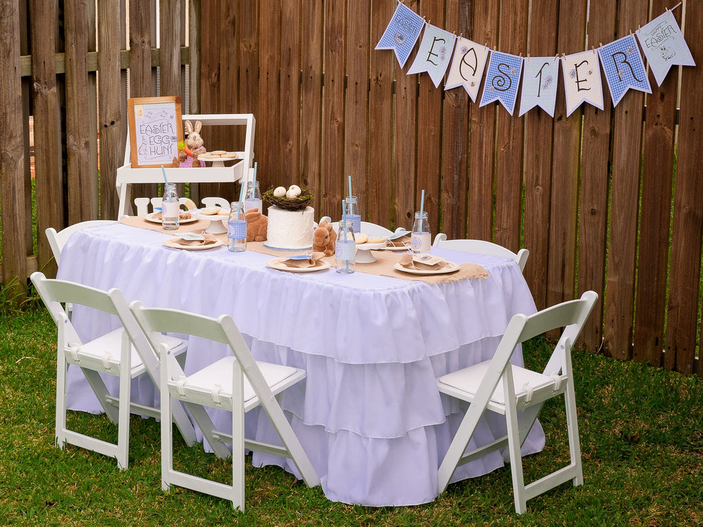 White Ruffled Tablecloths for Children's Rectangular Tables