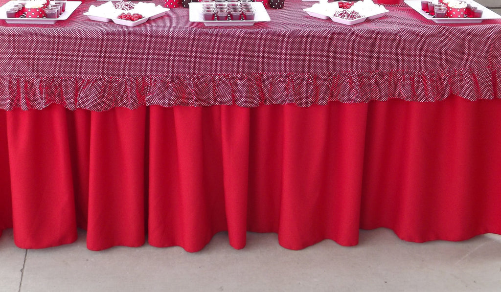 Red Gathered Tablecloth