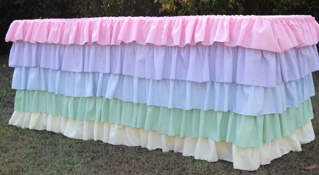 Pastel Rainbow Ruffled Tablecloth