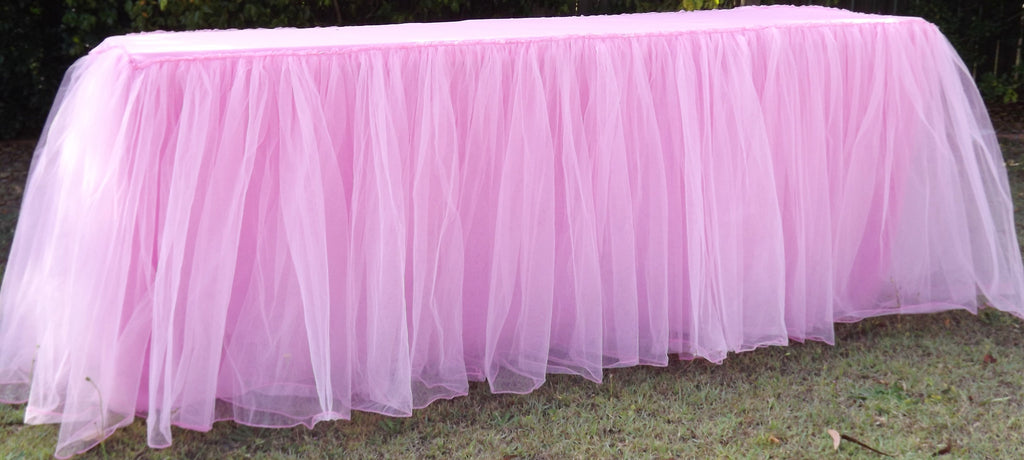 Pink Tulle Gathered Tablecloth