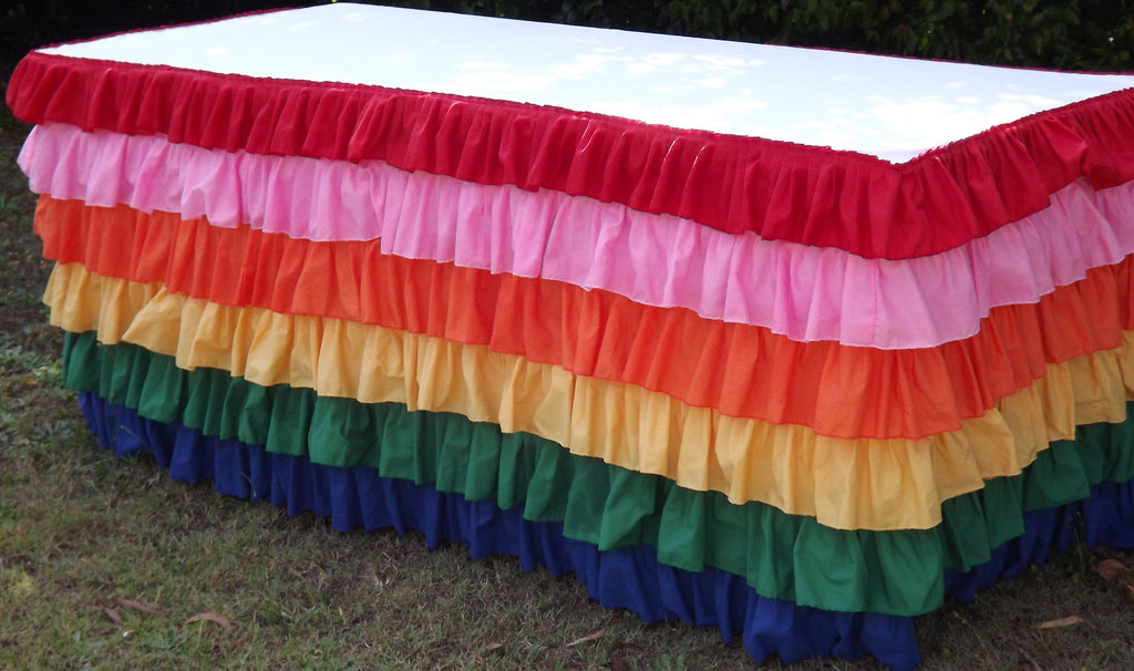Bright Rainbow Ruffled Tablecloth