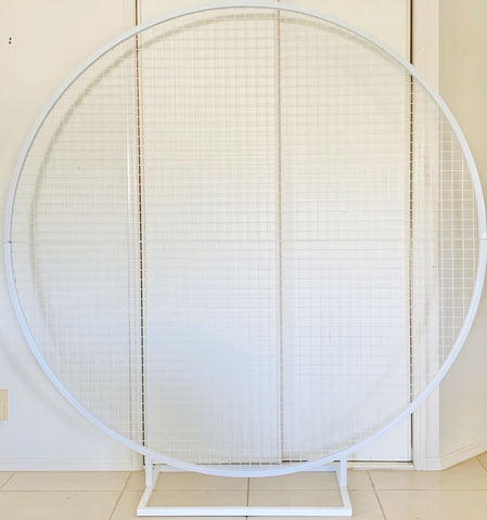 Round White Mesh Backdrop