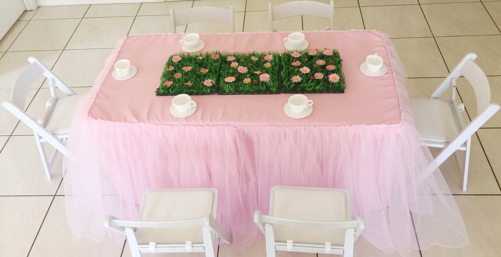 Pink Tulle Tablecloth For Children's Size Table