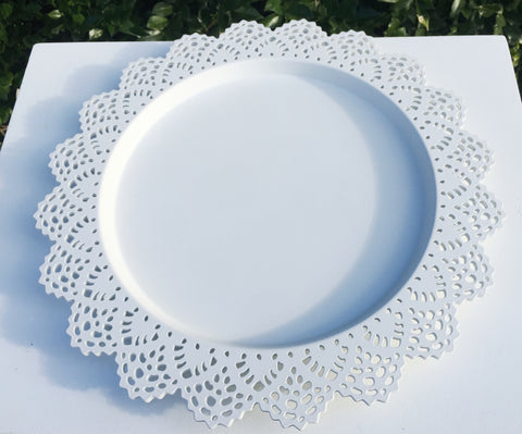 Large Lace Round Serving Platters