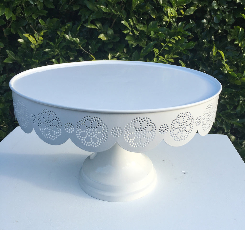 Large White Metal Cake Stand