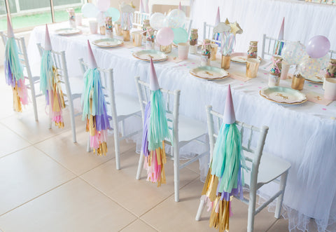 White Tulle Tablecloth For Children's Size Table