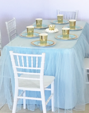 Blue Tulle Tablecloth For Children's Size Table