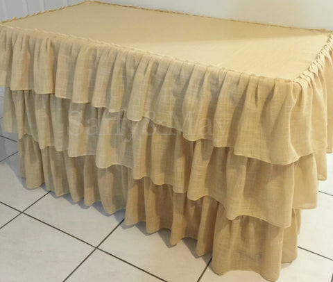 4ft Hessian Ruffled Tablecloth
