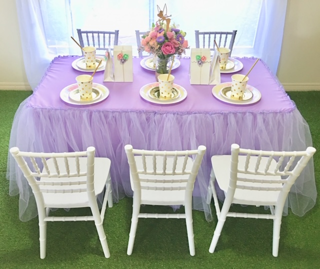 Purple Tulle Tablecloth For Children's Size Table