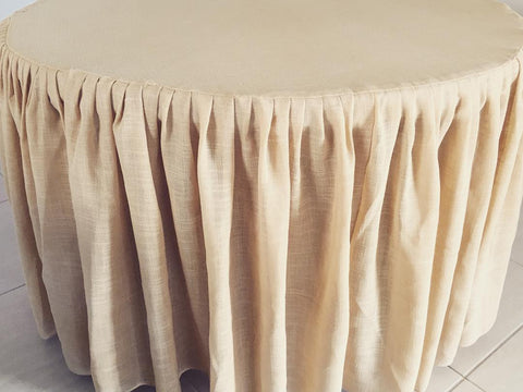 4ft Hessian Round Gathered Tablecloth