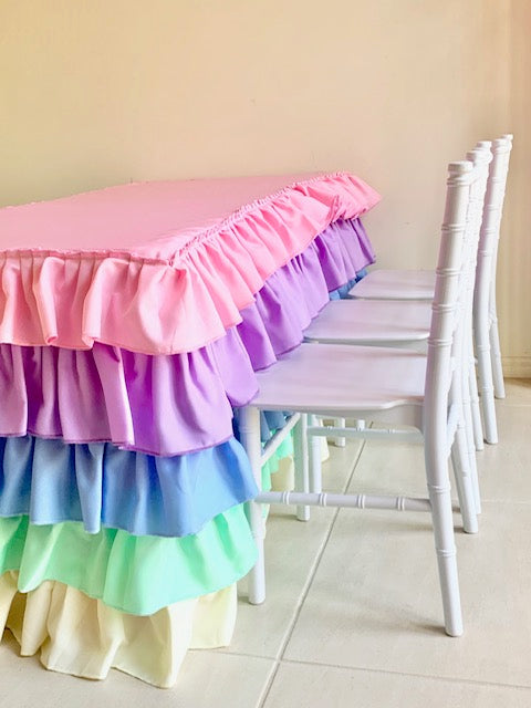 Pastel Rainbow  Tablecloth For Children's Size Table