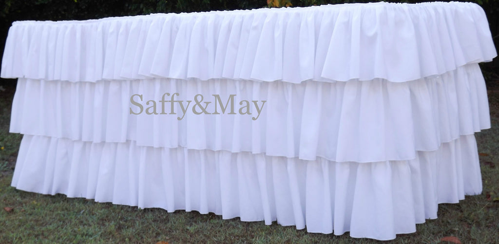 White Ruffled Tablecloth