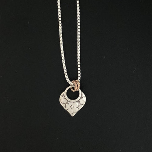 14K Rose Gold & Silver Floral Etched Pendant Necklace