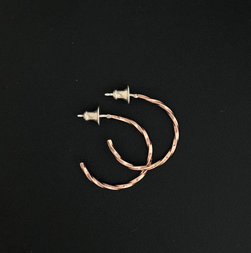 14K Rose Gold Hoop Earrings 15/16th""