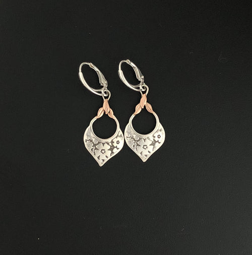 14K Rose Gold & .935 Silver Drop Earrings